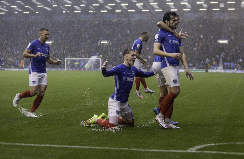 Portsmouth players celebrate goal